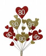 Hearts 80th birthday cake topper decoration in red and gold - free postage